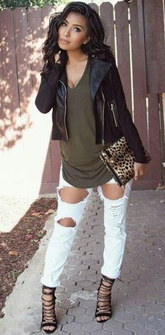 Leather jacket + ripped jeans + heels @sgall13