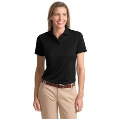 457cd8a5f Port Authority Women s Black Poly-Bamboo Charcoal Blend Pique Polo