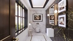 Packing a punch for the cloakroom bathroom. Love the deco lighting too Small Bathroom, Cloakroom, Suite, Luxury, Bathroom Suite, Bathroom Suites, Bathroom Sets, Luxury Toilet, Bathroom