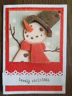 3D decoupage handmade embossed Christmas greeting card - lovely christmas, snowman with scarf and gloves having fun in the snow by ArtDenia on Etsy