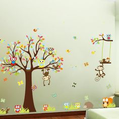 Monkey and Owl nursery wall decals