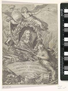 Paulus Pontius   Portret van Leopold Willem van Oostenrijk, Paulus Pontius, 1649   Allegorisch portret van Leopold Willem, aartshertog van Oostenrijk en landvoogd der Zuidelijke Nederlanden. Het portret wordt omringd door vlaggen en militaire attributen. In de lucht blaast Faam de bazuin.