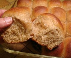 Soft 100% Whole Wheat Rolls - active or instant dry yeast - butter - honey - 3 eggs - salt -  buttermilk - whole wheat flour