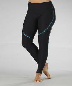 Look at this #zulilyfind! Black & Blue Summit Performance Leggings by Marika #zulilyfinds