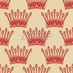 wallpaper crown: Vintage de fondo sin fisuras con el patrón de corona roja