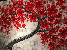 This Original abstract art will change the entire look of your room or office. Let your home reflect your stylish taste with this red cherry blossom tree painting. Red is a very hot color. It's associated with fire, love and passion. Red flowers of this contemporary wall decor are thick