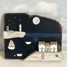 Super moon wall plaque  #lorainespick #shabbydaisies#shabbychic #moon#nautical #driftwoodart #rusticart #driftwood #handmade #harbour #lighthouse #seaside #summer