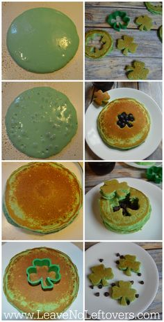 Green Pancakes for St. Patrick's Day! Green #StPatricksDay #Recipes
