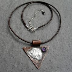 Vintage Style Copper With Sterling Silver and Amethyst Pendant £20.00