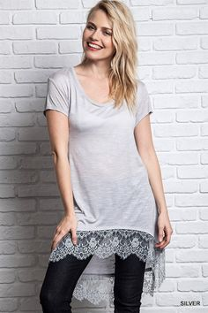 Silver Lace Tunic Top