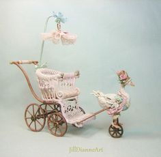 Layaway Plans - Mechanical Antique Style French Goose or Rabbit Pram - Mint or Pink - Hand-crafted Jill Dianne Dollhouse Nursery Miniatures by JillDianneArt on Etsy https://www.etsy.com/uk/listing/122315130/layaway-plans-mechanical-antique-style