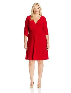 Star Vixen Women's Plus Size 3/4 Sleeve Surplice Fauxwrap Top with Self-Tie Skinny Belt -- Learn more by visiting the image link.