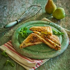 Pear, Salami and Brie Toastie