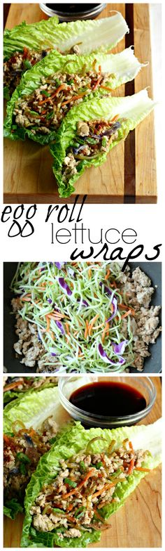 Egg roll filling tucked in lettuce wraps makes for healthy dish that's full of flavor. These egg roll lettuce wraps are a tasty lunch that you'll make again & again. Healthy Dishes, Healthy Salad Recipes, Low Carb Recipes, Healthy Snacks, Healthy Eating, Cooking Recipes, Healthy Chili, Broccoli Slaw Recipes, Egg Roll Filling