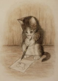 Maija Laaksonen illustration of kitten writing Art And Illustration, Illustrations, I Love Cats, Crazy Cats, Cute Cats, Image Chat, Cat Drawing, Cat Art, Love Art
