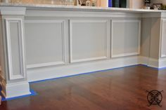 Want to Upgrade Your Kitchen Island? This is a super quick, inexpensive, easy weekend project, that provides a lot of character to an otherwise basic kitchen island by adding picture frame molding. In other words, you will get a lot of bang for you buck. Kitchen Island Molding, Kitchen Island Upgrade, Kitchen Island Makeover, New Kitchen Cabinets, Kitchen Flooring, Island Kitchen, Kitchen Reno, La Cornue, Basic Kitchen