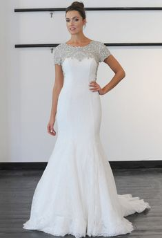Cristiano Lucci Spring 2014 Wedding Dresses, modest beaded top mermaid gown.