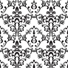 Simple Free Black and White Damask Vector Pattern - Backgrounds & Patterns repeating tiling website free clip art crafts resource printable scrap booking