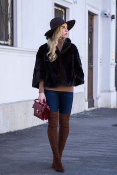January Dressing: vintage fur cape with panama hat and Stuart Weitzman Highland walnut suede over the knee boots, Saint Laurent High School satchel, how to wear fur cape, winter outfit with fur cape