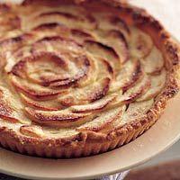 Normandische appeltaart. Hij was net zo mooi als op het plaatje.