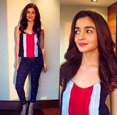Alia Bhatt in Printed Pants, Alia Bhatt in Printed Jeans, Alia Bhatt in Jeans and Strappy Pants, Alia Bhatt Jeans at Dear Zindagi Promotions. Bollywood Outfits, Bollywood Fashion, Bollywood Celebrities, Bollywood Actress, Alia Bhatt Varun Dhawan, Aalia Bhatt, Alia Bhatt Cute, Alia And Varun, Cheap Boutique Clothing