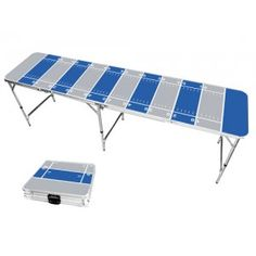 Royal Blue & Gray Football Field 8 Foot Portable Folding Tailgate Beer Pong Table from TailgateGiant.com