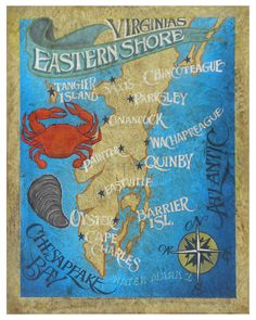 Virginia Eastern Shore Map style Print by ZekesAntiqueSigns. ¤♡¤ look at this y'all! I wanna do some string wall art like the ones with the states and the hearts. Only one of the whole shore being a state.  ♡♡♡