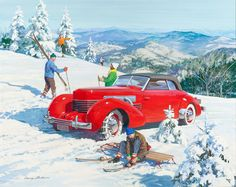 'Pioneer American Skiers, 1937 Cord, Great Moments in Early American Motorin' by Harry Anderson (1906-1996) : Original Gouache and Tempera on Board
