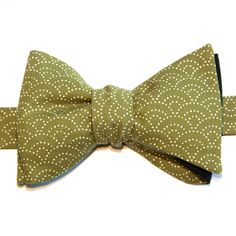 Nœud papillon Eventail Vert Green Fan Japanese bow tie