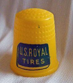 Vintage advertising plastic thimble USROYAL TIRES Thimble