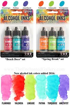 New 2016 Alcohol Ink colors available in Beach Deco or Spring Break 3-pack sets including Flamingo pink, Valencia orange, Limeade, Patina, Turquoise, Amethyst. Tim Holtz Ranger Ink products for sale, free projects, color charts and tutorials at The Enchanted Gallery www.TheEnchantedGallery.com