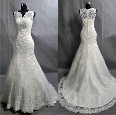 Absolutely love! (Custom V Neck  Mermaid Lace Wedding Dress/Bridesmaids Dress/Prom Dress K037 on Etsy, £261.93)
