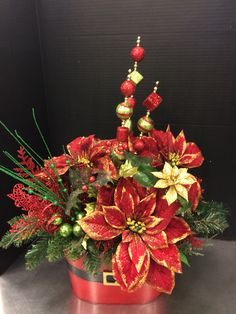 Whimsical Santa bucket custom floral by Andrea for Michaels Round Rock