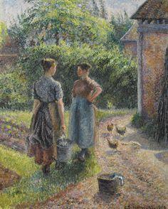Paysannes causant dans la cour d'une ferme, Éragny (1889-1902) - Camille Pissarro