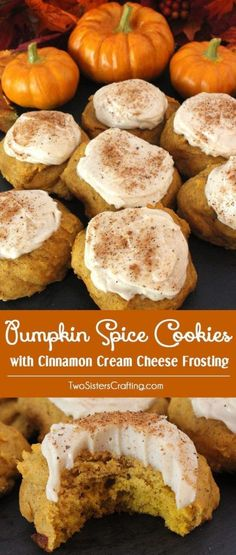 Pumpkin Spice Cookies with Cinnamon Cream Cheese Frosting are the perfect Fall Cookies and a wonderful choice for a Christmas Cookie Exchange. This cookie tastes just like Pumpkin Pie which makes it a great Thanksgiving Dessert idea. And with the deliciou Pumpkin Recipes, Fall Recipes, Holiday Recipes, Baking Recipes, Cookie Recipes, Dessert Recipes, Frosting Recipes, Dishes Recipes, Recipes Dinner