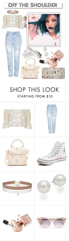 """""""Off the Shoulder"""" by glamourgirl0416 ❤ liked on Polyvore featuring White Label, Miguelina, Topshop, ZAC Zac Posen, Converse, Miss Selfridge, AK Anne Klein and Jimmy Choo"""