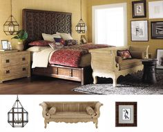 Ornate carving on the Marrakesh bed and antique reproduction bench give global perspective.