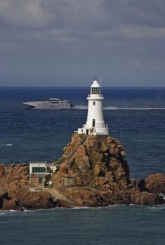 Corbier Lighthouse, St. Brelade, Jersey, UK