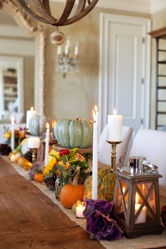 Fall Tabletop Décor, Evan G. Cooper on The Lettered Cottage.  Pumpkins | Lanterns | Pinecones | Flowers | Candles