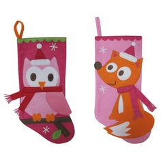 "Holiday Owl/Fox Felt Stocking 17.25"""