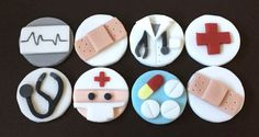 Set of 12 edible icing Medical School Doctor themed Cupcake toppers - perfect for decorating cakes and cupcakes! Decorations include 2 x doctor