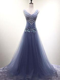 V Neck Dusty Blue Beaded A-line Long Evening Prom Dresses, 17620 Short Sleeve Prom Dresses, Prom Dresses Blue, Mermaid Prom Dresses, Pretty Dresses, Beautiful Dresses, Evening Dresses, Long Formal Gowns, Formal Dresses, Long Dresses