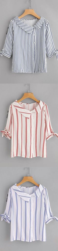 Vertical Striped Tie Cuff Blouse ( maybe a great way to modify a thrift store purchase) Source by shboone T Shirt Yarn, T Shirt Diy, One Direction Shirts, Cut Up Shirts, Crochet Shirt, Sewing Clothes, Dress Patterns, Blouse Designs, Designer Dresses