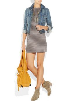 denim jacket + striped dress + colorful bag = easy!