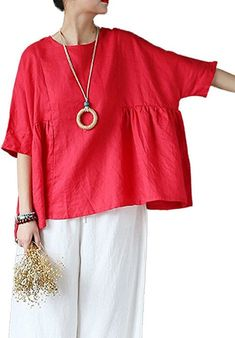 Mordenmiss Women's Linen Half Sleeve Round Neck Top Blouses Red at Amazon Women's Clothing store: Diy Fashion, Fashion Dresses, Fashion Design, Linen Blouse, Linen Dresses, Red Blouses, Boho Tops, Sewing Clothes, Boho Outfits