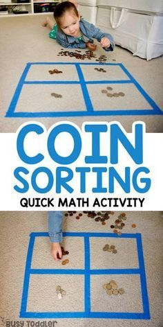 Coin Sorting Preschool Math Activity - Busy Toddler - - Ready to introduce money to your preschooler or busy big kid? Check out this easy coin sorting activity! A quick and easy math activity to try at home. Preschool Learning Activities, Sorting Activities, Preschool At Home, Toddler Activities, Teaching Kids, Toddler Preschool, Kids Learning Games, Learning Money, Money Activities