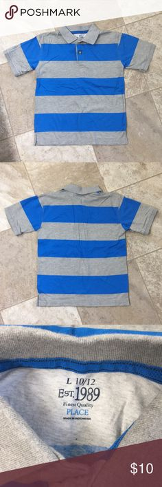 CHILDREN'S PLACE, boys polo shirt, size 10-12 EUC, Boy's polo shirt, purchased at Children's Place. Size L (10-12) blue & grey striped, collared shirt   💙MOTIVATED SELLER  💯% of all sales go to help with my son's fundraising efforts for his school field trip to Epcot!! Children's Place Shirts & Tops Polos