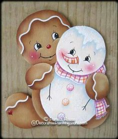The Decorative Painting Store: Sweet Pals Ginger Ornament Pattern, Pamela House Gingerbread Ornaments, Gingerbread Decorations, Christmas Gingerbread, Christmas Wood, Christmas Decorations, Christmas Ornaments, Christmas Snowman, Snowman Crafts, Holiday Crafts