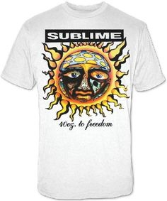 Our Sublime men''s tshirt features the album cover artwork from 40 Oz. To Freedom, the debut release by the Long Beach, California based alternative rock band. 40 Oz. to Freedom reached store shelves