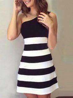 Exquisite Bicolor One Shoulder Skinny Striped Splicing Mini Party Dress Black